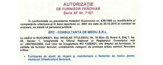 EPC a obţinut Autorizaţia de Furnizor Feroviar